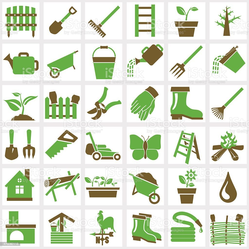 An assortment of many green and brown garden icons vector art illustration