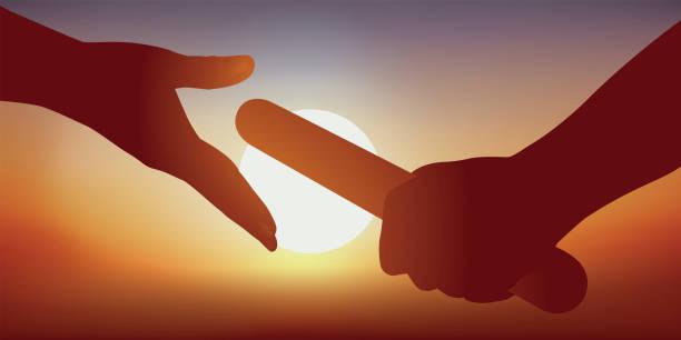 An athlete passes the witness to his partner during an athletics event. Concept de la transmission du savoir et du partenariat avec l'image de l'athlète qui passe le relais à son coéquipier pour gagner la course et remporter une victoire. continuity stock illustrations