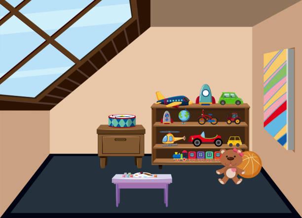 ein dachboden-spielzimmer-hintergrund - dachboden stock-grafiken, -clipart, -cartoons und -symbole