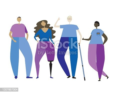 A blind albino with a white cane and a two-armed or young disabled girl with a prosthetic leg as a concept of inclusiveness. Flat vector stock illustration isolated on white background for design