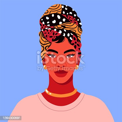 Vector illustration with smiling and happy African girl for social network profile avatar. Flat cartoon contemporary design.
