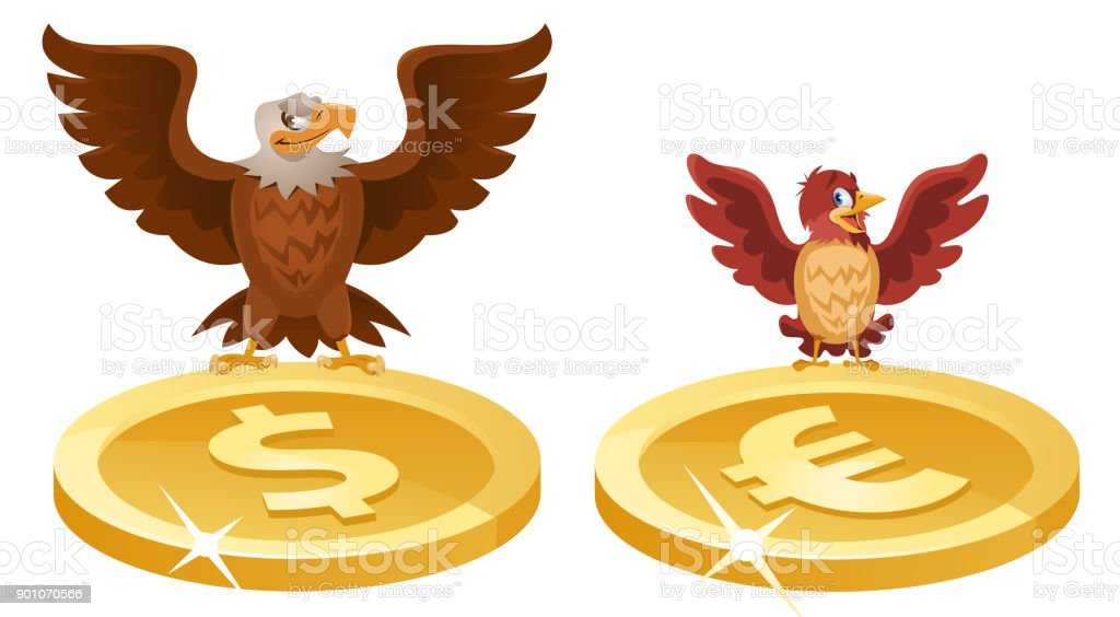 An Eagle And A Sparrow Spread Their Wings Over The Symbols Of The