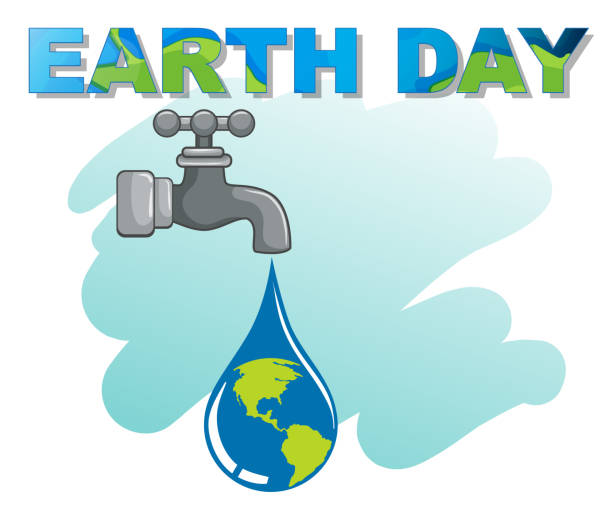 an earth day logo - tap water stock illustrations