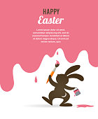 Easter retro greeting card with bunny, vector illustration