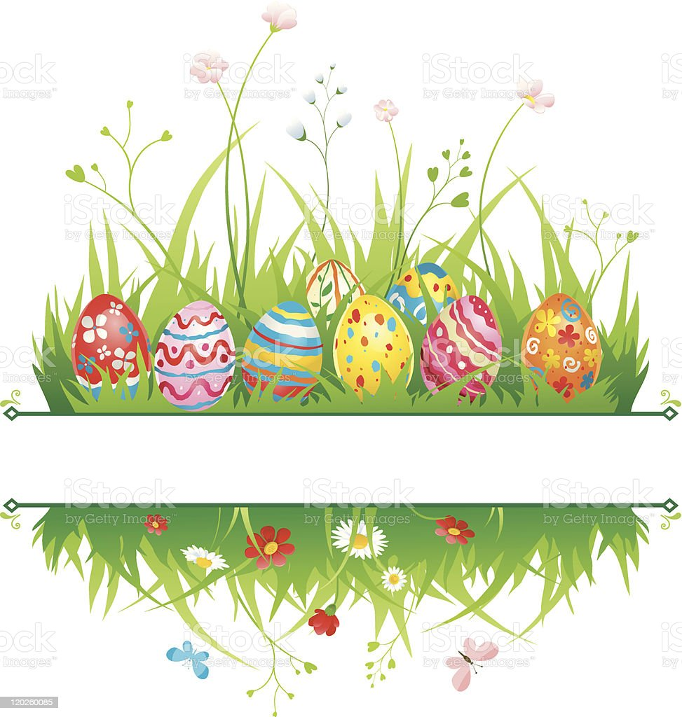 An Easter Frame With Grass Flowers And Eggs Royalty Free Stock Vector