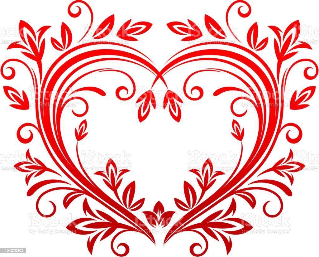 An elaborate floral designed red heart royalty-free an elaborate floral designed red heart stock vector art & more images of abstract
