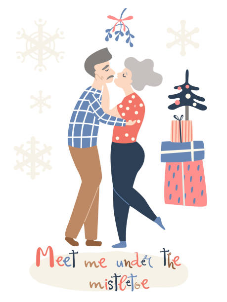 an elderly couple in love kisses under a mistletoe. christmas card - old man kissing stock illustrations, clip art, cartoons, & icons