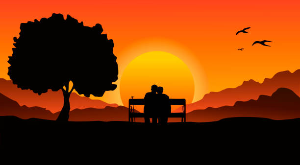 an elderly couple sitting on a bench in a mountainous area, next to a large tree. look at the beautiful sunset. - old man sitting backgrounds stock illustrations, clip art, cartoons, & icons