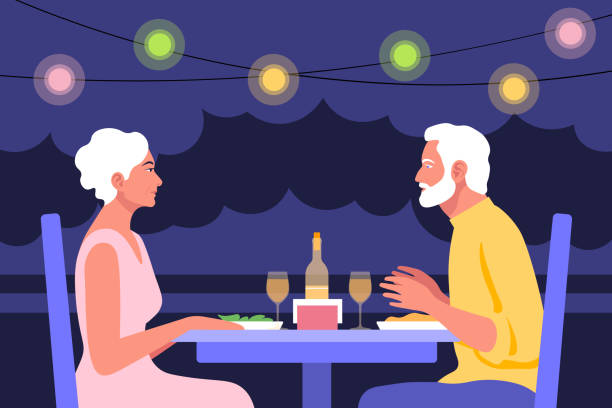 高齢の男性と高齢の女性がプロフィールのテーブルに座っています。カフェでのデートと商談。夏の夜 - 老夫婦点のイラスト素材/クリップアート素材/マンガ素材/アイコン素材