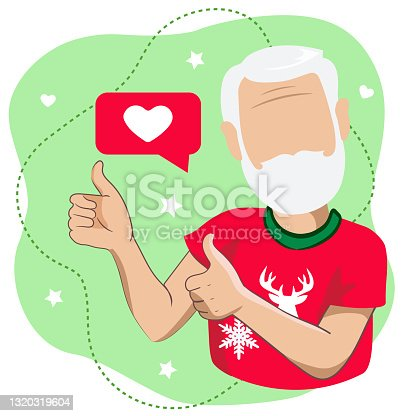 """istock An elderly man or Santa Claus in a red T-shirt with an ornament with thumbs up isolated on a light green background. Santa Claus artoon character with thumbs up gesture in vector illustration.""""n 1320319604"""