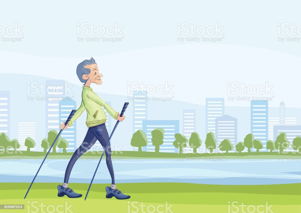 dae76b589a76 An elderly man practicing nordic walking outdoors. Active lifestyle and  sport activities in old age