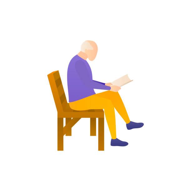 Ein älterer Mann liest ein Buch, flache Vektor-Illustration. – Vektorgrafik