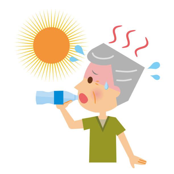 An elderly man who drinks water to counter heatstroke. An elderly man who drinks water to counter heatstroke. heat wave stock illustrations