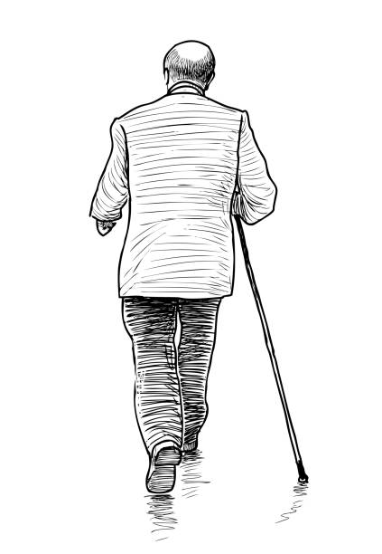 255 Drawing Of Old Man Walking Stick Illustrations Royalty Free Vector Graphics Clip Art Istock