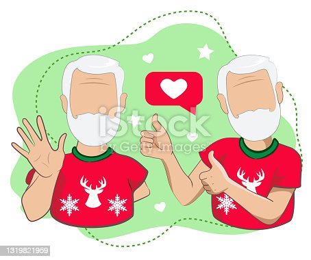 istock An elderly man with thumbs up and an elderly man waving  his hand  greeting or saying goodbye. Cartoon male characters with welcoming and with thumbs up gestures in vector illustration. 1319821959