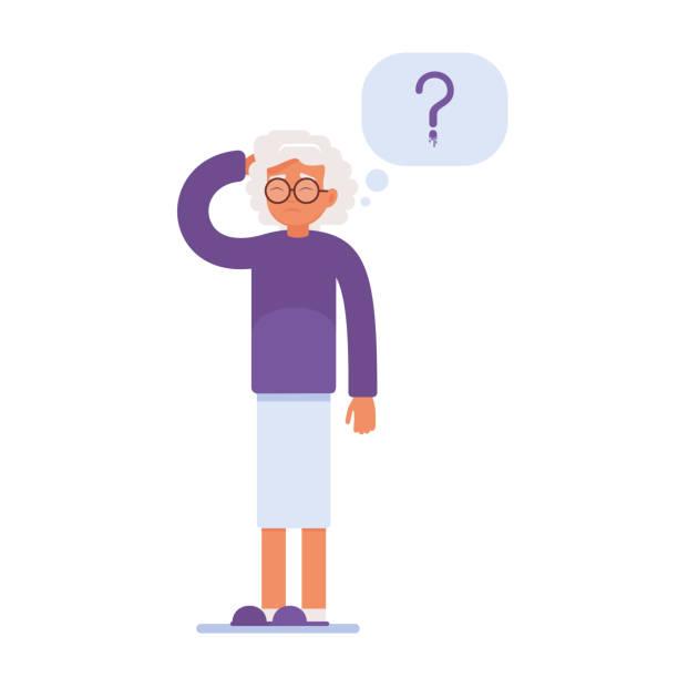 ilustrações de stock, clip art, desenhos animados e ícones de an elderly person has memory problems. - alzheimer