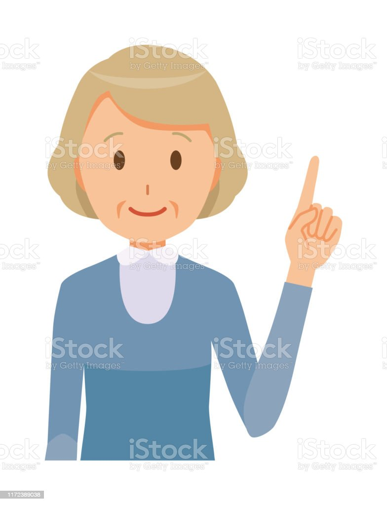 青い服を着た年配の女性が指差している 60代のベクターアート