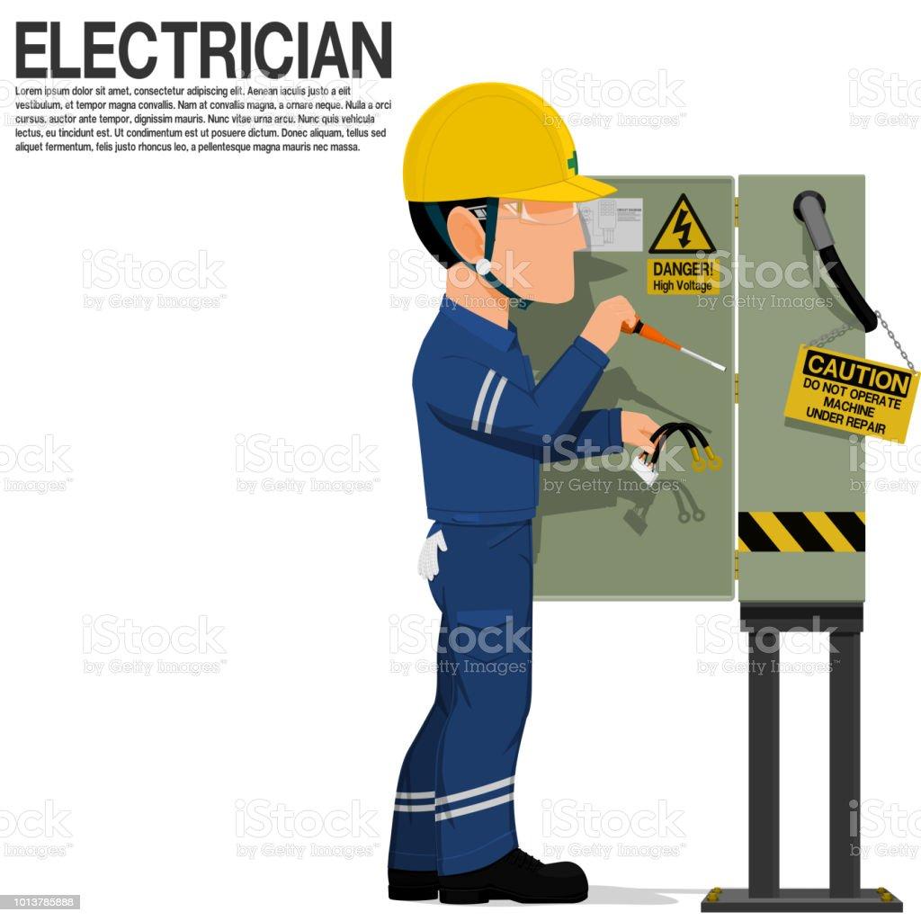 電気工事士は、電気キャビネットを修正します。 ベクターアートイラスト