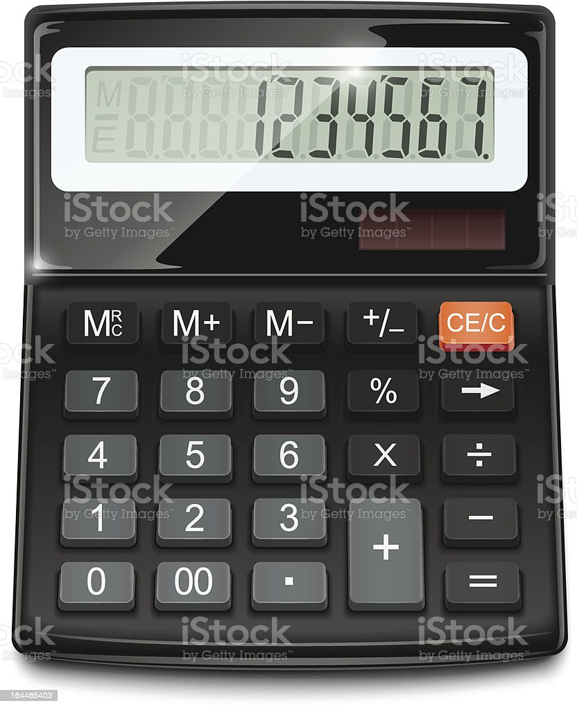 An electronic calculator with numbers typed in vector art illustration