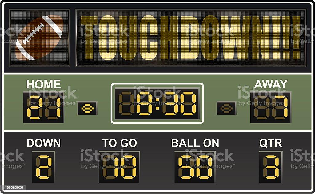 An electronic football scoreboard vector art illustration
