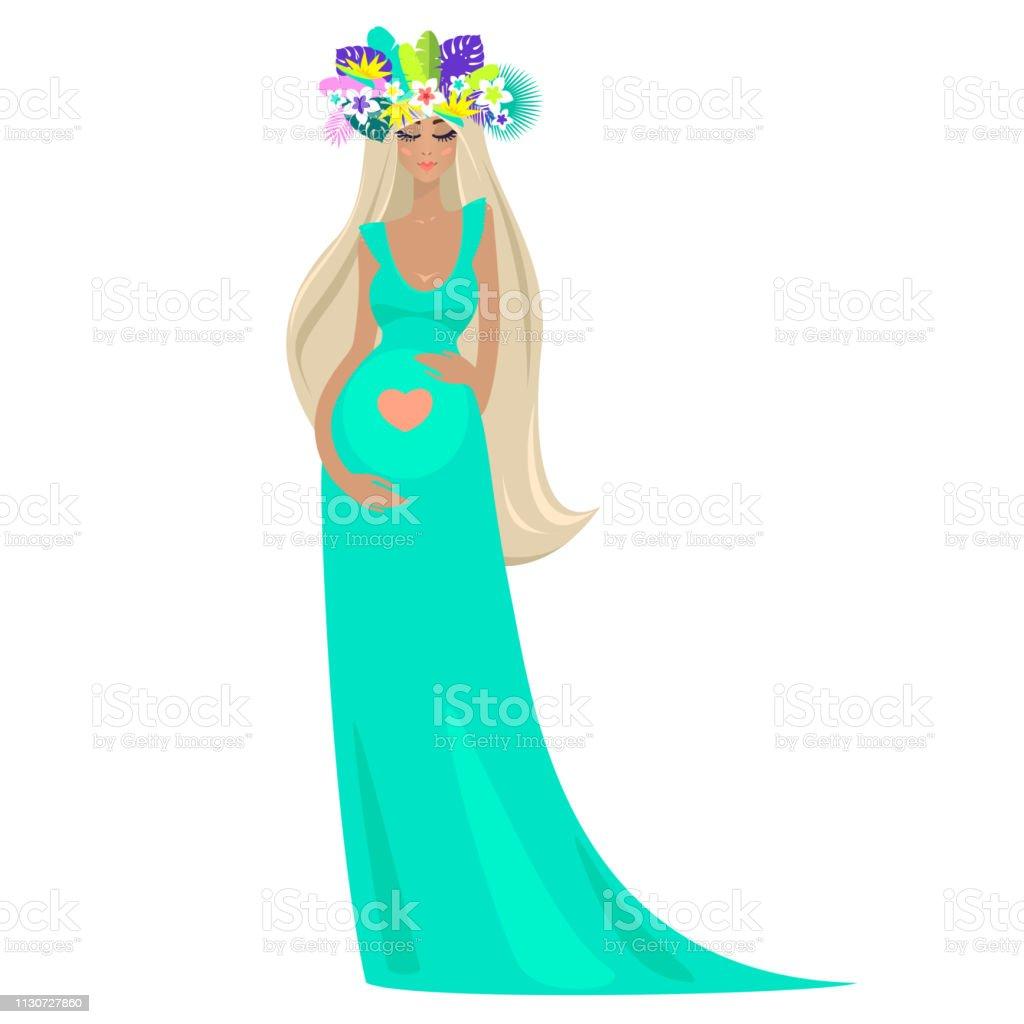b88d3fcd368 An Elegant Beautiful Pregnant Woman In Long Turquoise Dress ...