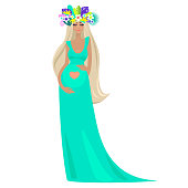 An elegant beautiful pregnant woman in long turquoise dress, caressing her belly with heart on it, tropical coronal from summer leaves and flowers, with closed eyes, long hairs. Vector illustration