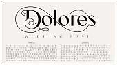 istock An elegant sans serif typeface with big alternate characters set 1257430349