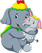 illustration of an elephant wearing a yellow hat and playing with a little elephant so fun