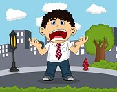 An employee screaming on the road with city background cartoon