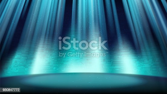 An empty blue scene with a background of a printed circuit board, illuminated by a spotlight
