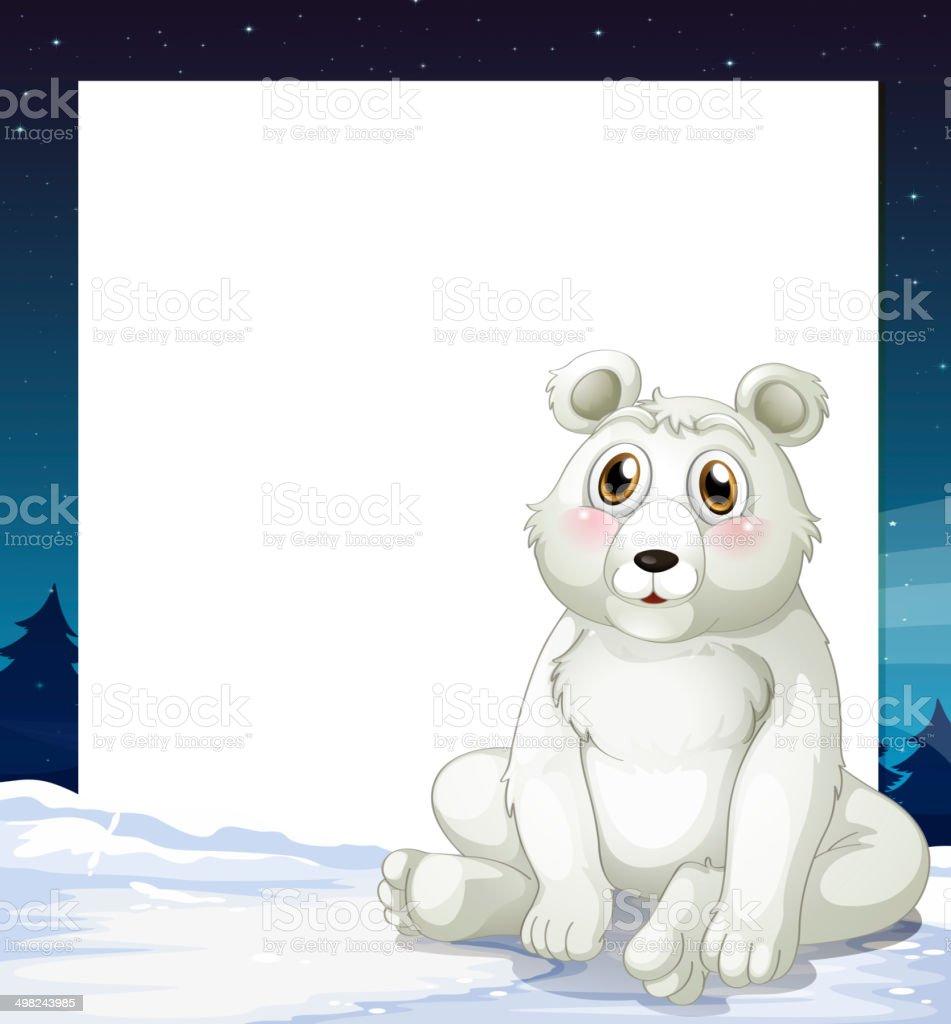 An empty template with a polar bear royalty-free stock vector art