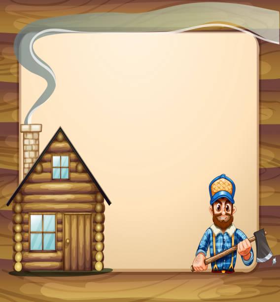 illustrations, cliparts, dessins animés et icônes de un modèle vide avec maison en bois avec une hache et bûcheron - man axe wood