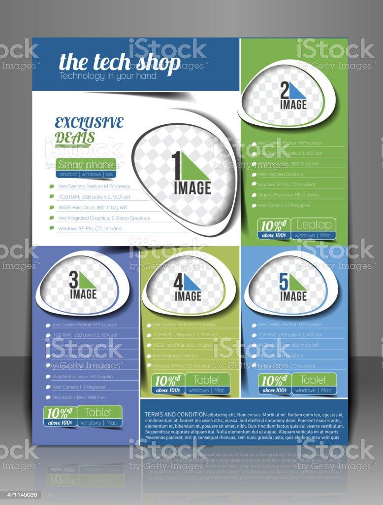 An example flyer design for a tech shop