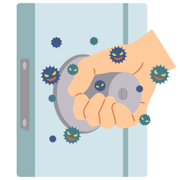 모든 사람이 사용하는 문 손잡이를 터치하여 바이러스가 부착되는 예입니다. - 문손잡이 stock illustrations