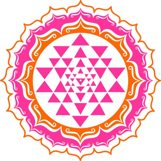 An example of Sri Yantra geometry on a white background Shri Yantra - lotus flowers - Vector image qigong stock illustrations