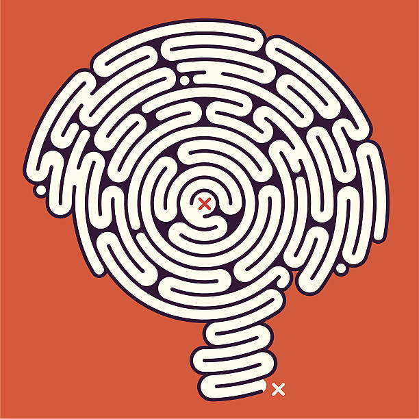 An example of the game Maze with an entrance and the end vector art illustration