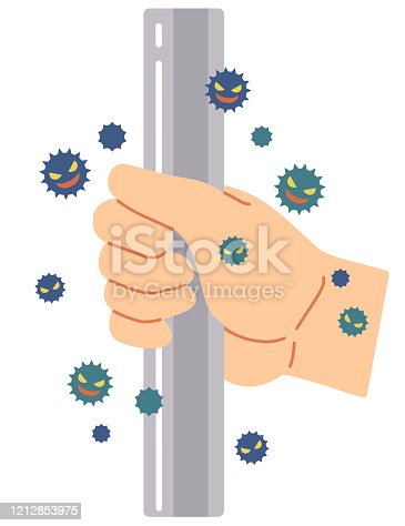 An example where a virus is attached by touching a handrail used by everyone.