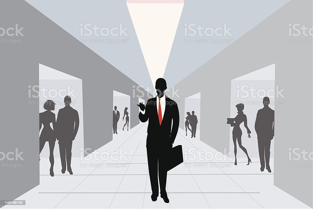 An executive silhouette leaving the office royalty-free stock vector art