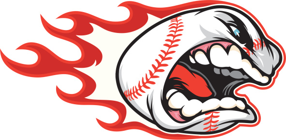 An extremely angry baseball with flames