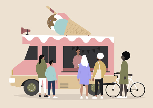 An ice cream food truck, people ordering and waiting, summer urban lifestyle