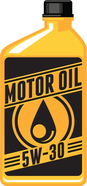 An icon of a big motor oil in orange and black tone
