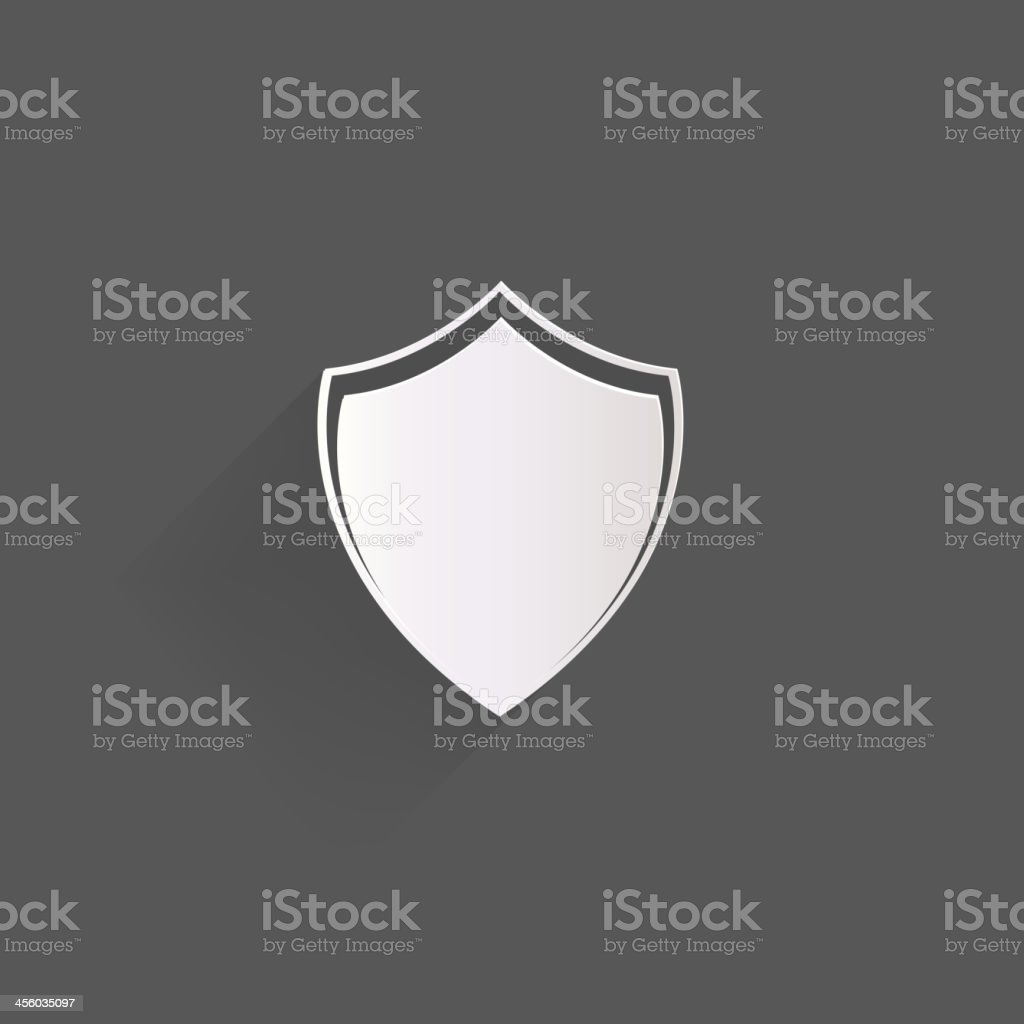An icon of a shield against a gray background vector art illustration