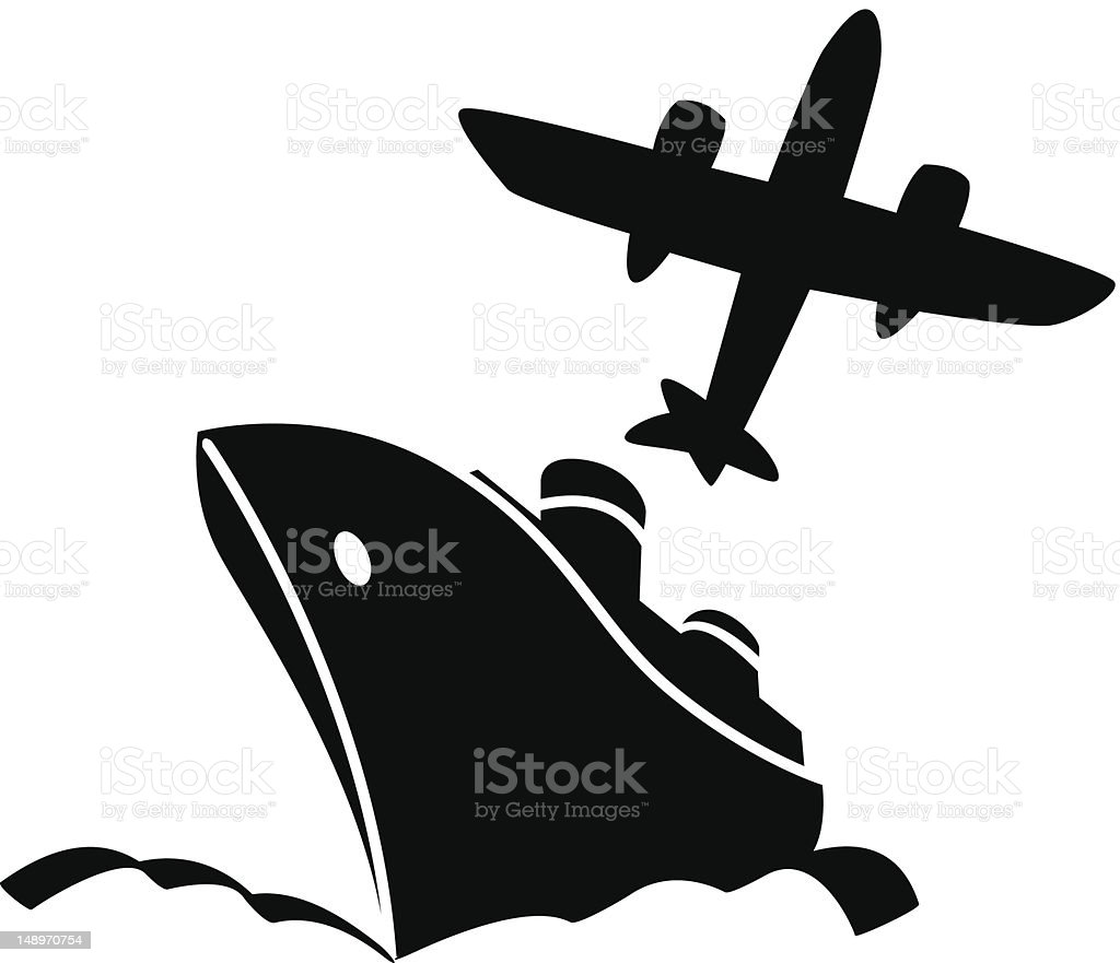 An icon of an airplane and a ship in black and white royalty-free stock vector art