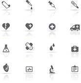 An icon set of medical related items
