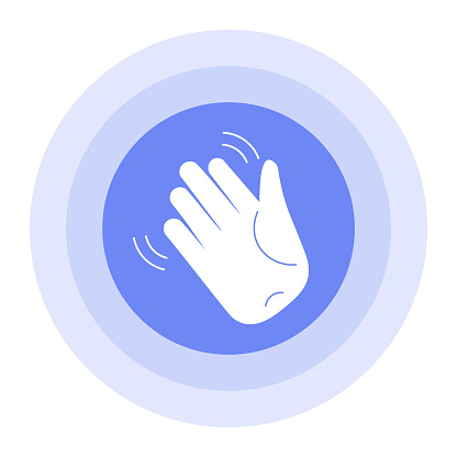 An icon with a hand greeting an emotion. Waving hand gesture icon