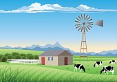 Old Style Farm and Windmill in a Field.