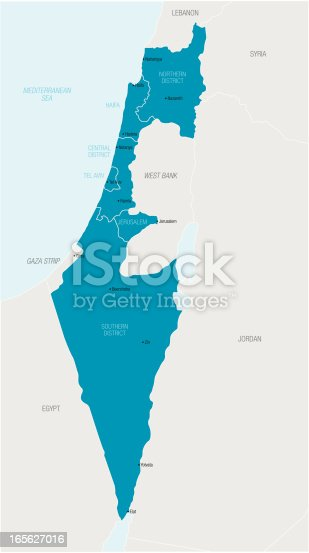 istock An illustrated blue map of Israel 165627016