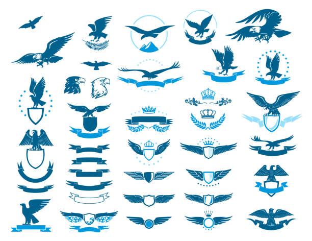 illustrations, cliparts, dessins animés et icônes de un aigle médiéval bleu illustré la valeur sur un fond blanc - aigle