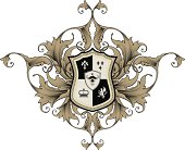 Coat of arms with scrollwork. RGB vector.