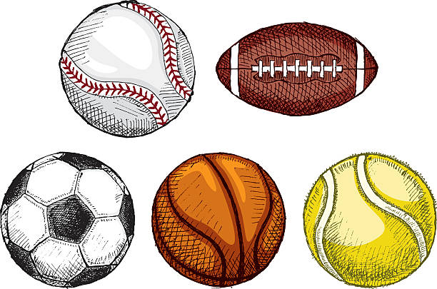 An illustrated montage of sports balls vector art illustration